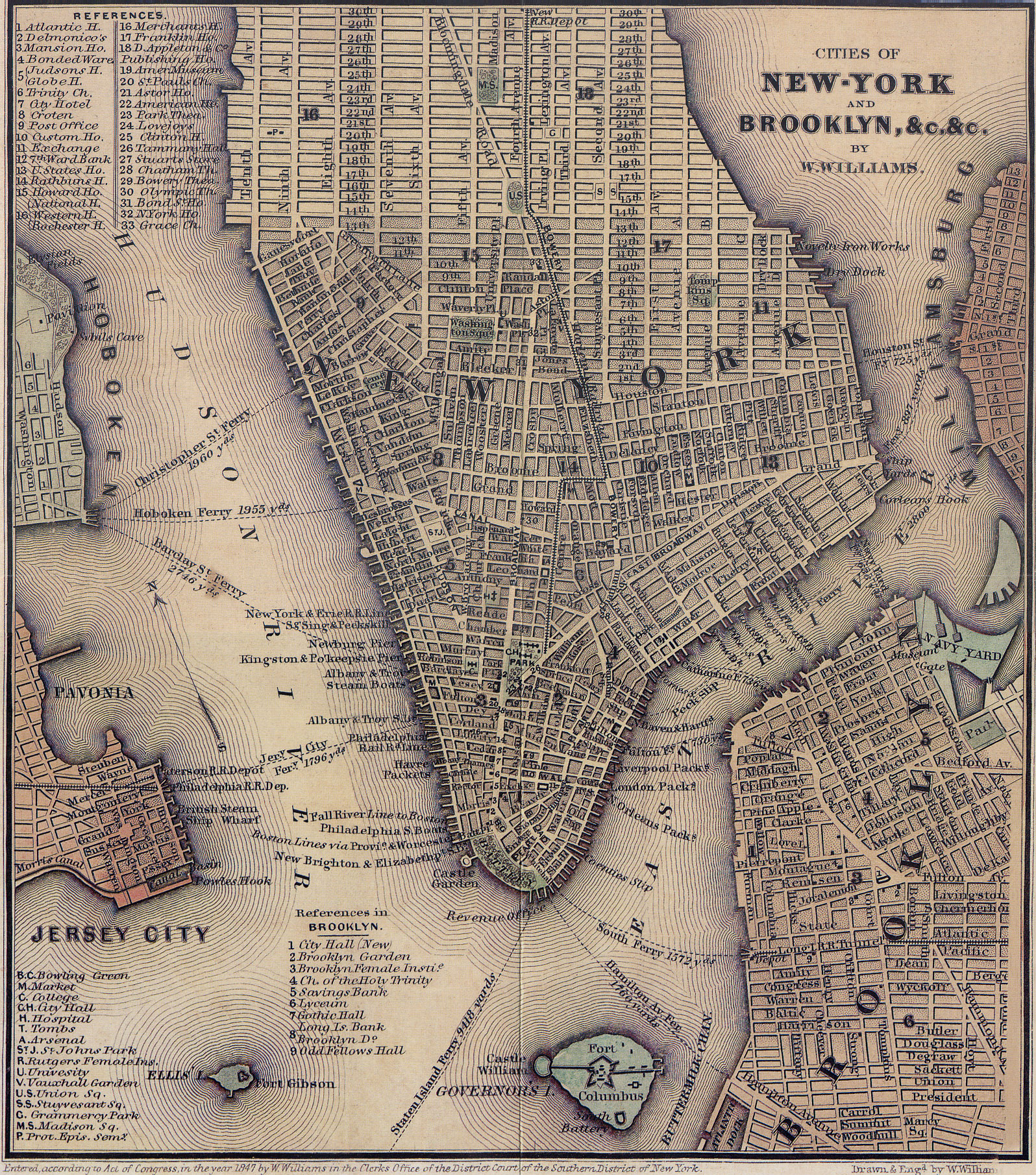 1847_lower_manhattan_map - Hells Kitchen Manhattan